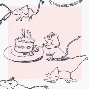 A bespectacled girl mouse adores and embraces her lovely birthday cake.