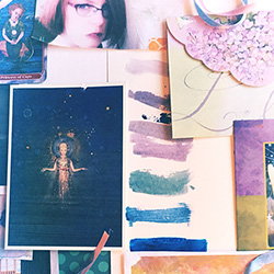 A flat lay of mystical images, color studies, patterns, handlettering, ribbons, gathered from a mood board.