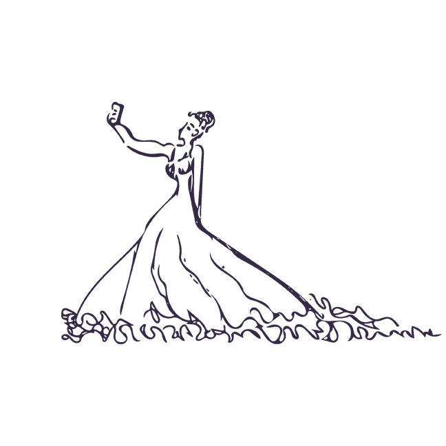 Woman in ball gown taking a selfie.